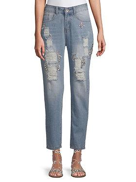 Lea & Viola Embellished Boyfriend Jeans
