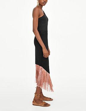ZARA Textured Skirt with Fringe