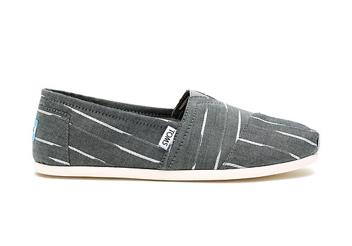 TOMS Men's Grey/White Mini Stripe Classics