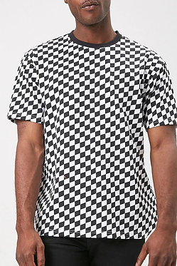 FOREVER21 Men's Checkered Crew Neck Tee