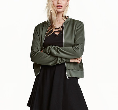 H&M Khaki Green Sweatshirt Jacket