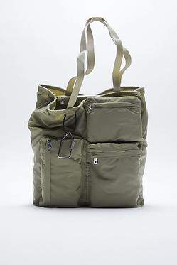 ZARA Tote Bag with Pockets and Carabiner