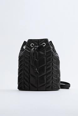 ZARA Black Quilted Backpack