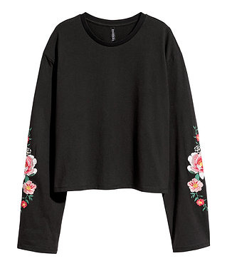 H&M Women's Embroidered Jersey Top