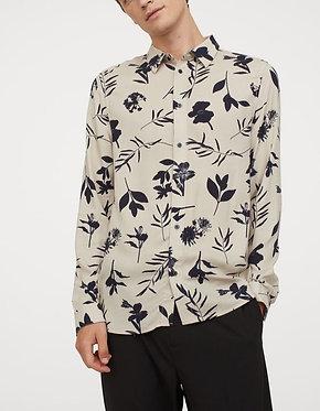 H&M Men's Light Taupe Print Slim Fit Shirt