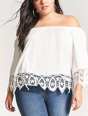 FOREVER21+ Plus Size Crochet Lace Off-the-Shoulder Top