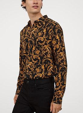 H&M Men's Black Patterned Slim Fit Shirt