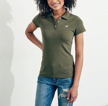 Hollister Co. Girls Slim Icon Polo Olive