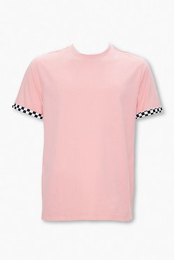 FOREVER21 Men's Checkered-Cuff Cotton Tee