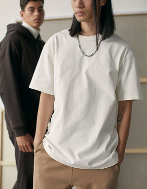 H&M Men's White Oversized Cotton T-shirt