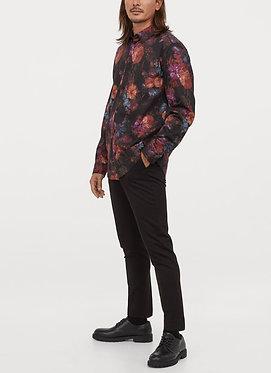 H&M Men's Black Floral Print Shirt