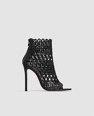 ZARA Wraparound Die-Cut High-Heel Leather Sandals