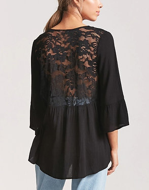 FOREVER21 Lace-Panel Trumpet-Sleeve Top