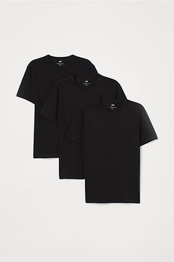 H&M Men's 3-pack Black Slim Fit T-shirts
