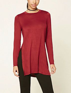 FOREVER 21 Knit Side Slit Burgundy Top