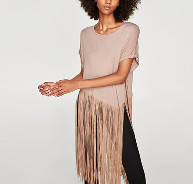 ZARA T-shirt with Long Fringe