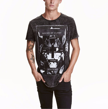 H&M Men's Black Washed Out Printed T-shirt