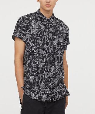 H&M Men's Patterned Short Sleeve Shirt