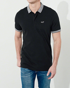 Hollister Stretch Pique Shrunken Collar Black Polo