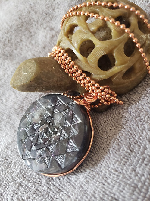 Sri Yantra Medallion Orgne