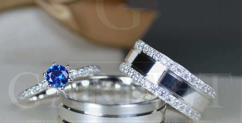 Conjunto Elegance Blue - Par de Alianças e Solitário
