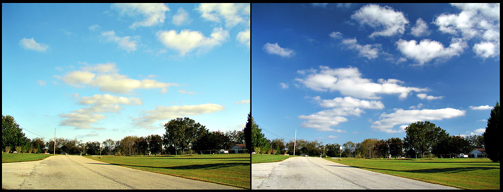 sky with and without polarising filter