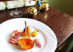 Lobster, clementine, beetroot