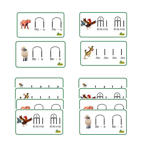 ANIMAL SOUNDS RHYTHM CARD SET for La Finca Book (30 Cards)