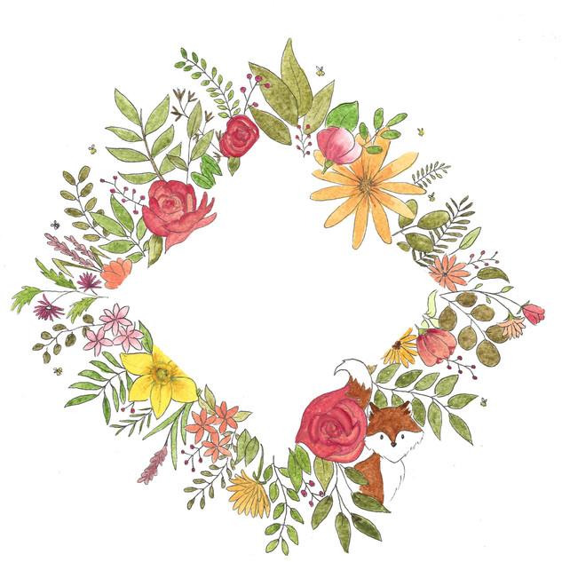 Floral wreath design for a personalised card