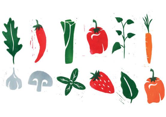 Lino prints for the branding.