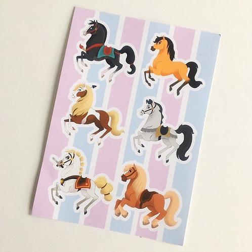 A6 Carousel Horse Sticker Sheet