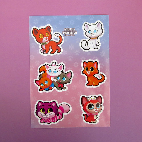 Animated Cats Sticker Sheet