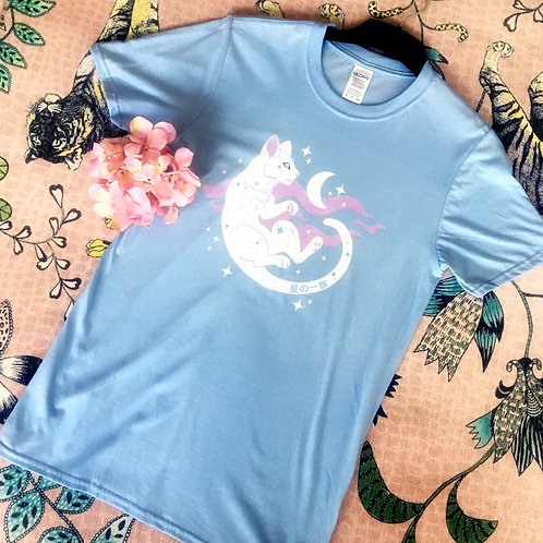 Star Space Cat Blue T-shirt
