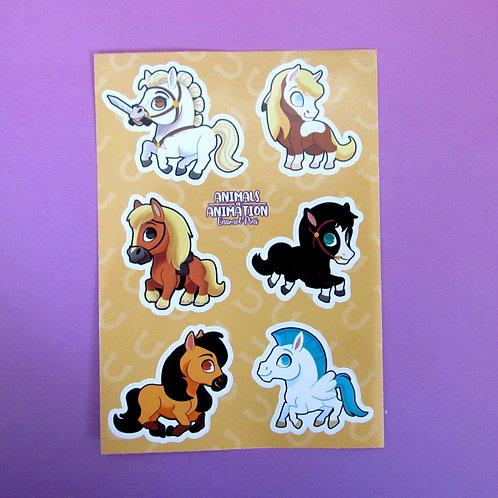 Animated Horses Sticker Sheet