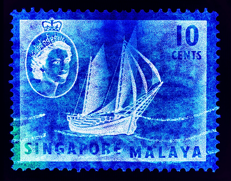 """""""Singapore Stamp Collection 10 cents QEII Ship Series"""" by Heidler & Heeps"""