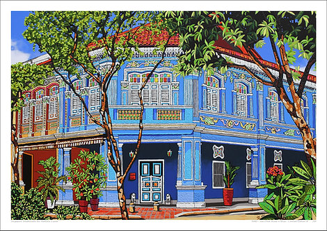 """""""Joo Chiat Road in Blue"""" by Nathalie Laoue"""