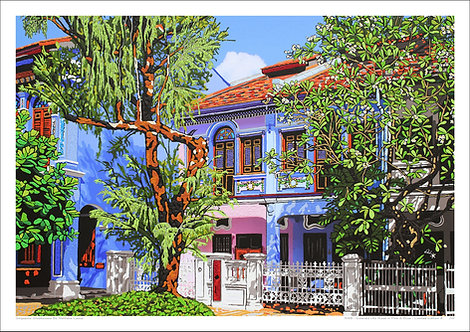"""""""Emerald Hill Road in Pink & Blue"""" by Nathalie Laoue"""