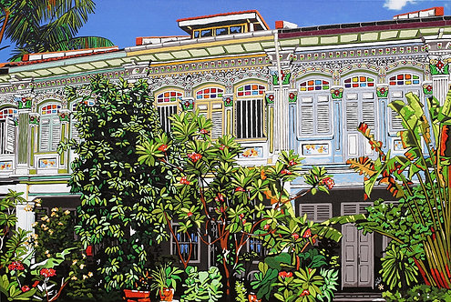 """Shophouses among the trees at Joo Chiat Terrace #53-57"" by Nathalie Laoue"