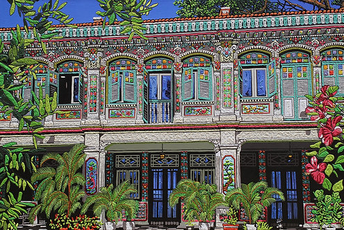 """""""Rococo Shophouses at Petain Road #32-34-36"""" by Nathalie Laoue"""