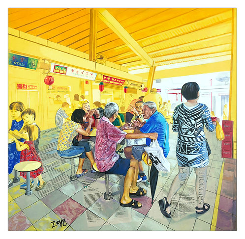 """""""Morning Noodles & Gossip At The Toapayoh Hawker Centre"""" by Zoya Chaudhary"""