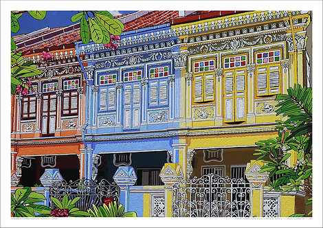 """""""Koon Seng Road in Blue & Yellow"""" by Nathalie Laoue"""