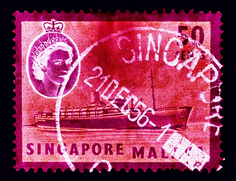 """""""Singapore Stamp Collection 50 cents QEII Steamer Ship"""" by Heidler & Heeps"""