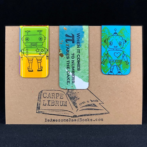 Math Robots Magnetic Bookmark Set