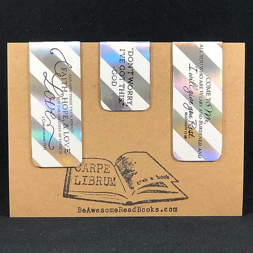Silver and White Scripture Magnetic Bookmark Gift Set
