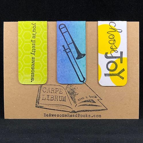 Blue Trombone Magnetic Bookmark Gift Set