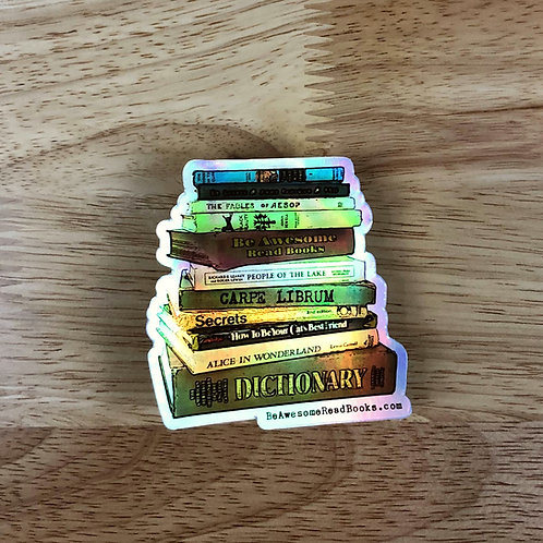 Book Stack Holographic Die Cut Sticker