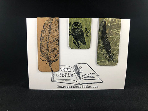 Owl and Feathers Magnetic Bookmark Gift Set
