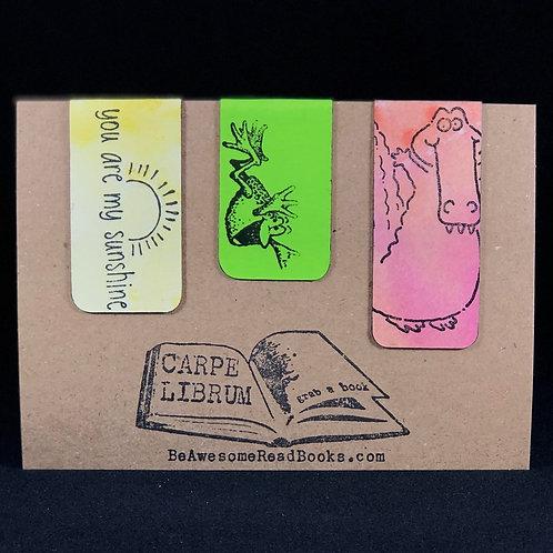 Frog, Gator, and Sunshine Magnetic Bookmark Set
