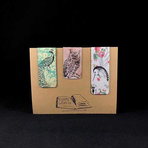 Peacock, Owl, Hummingbird Magnetic BookmarkGift Set