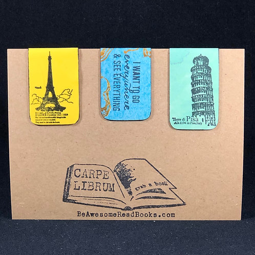 Travel France and Italy Magnetic Bookmark Gift Set